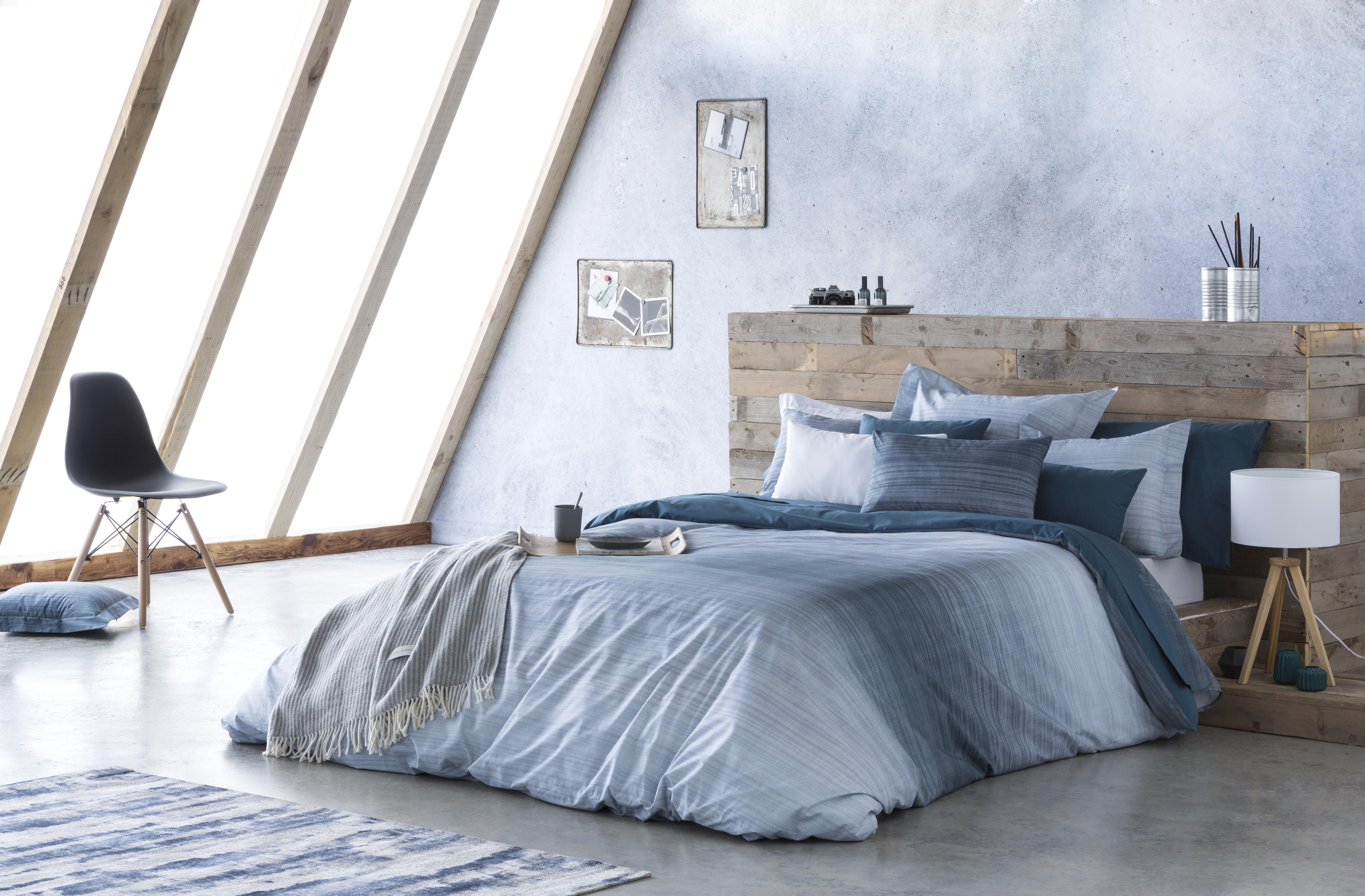 Drap de lit en coton bicolore 250x280