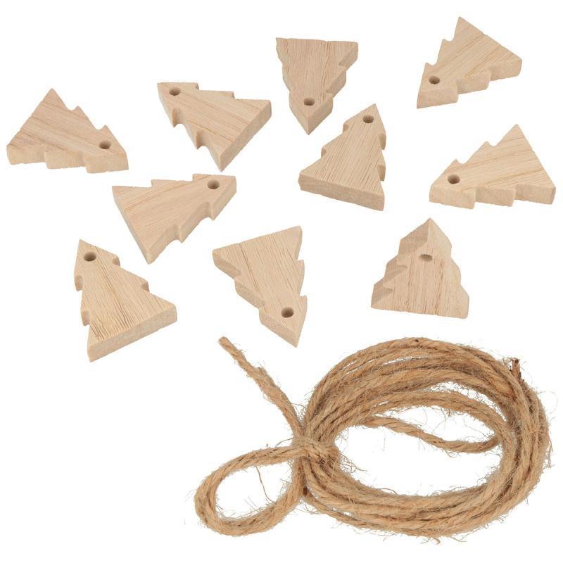 Guirlande 10 sapins en bois 5cm