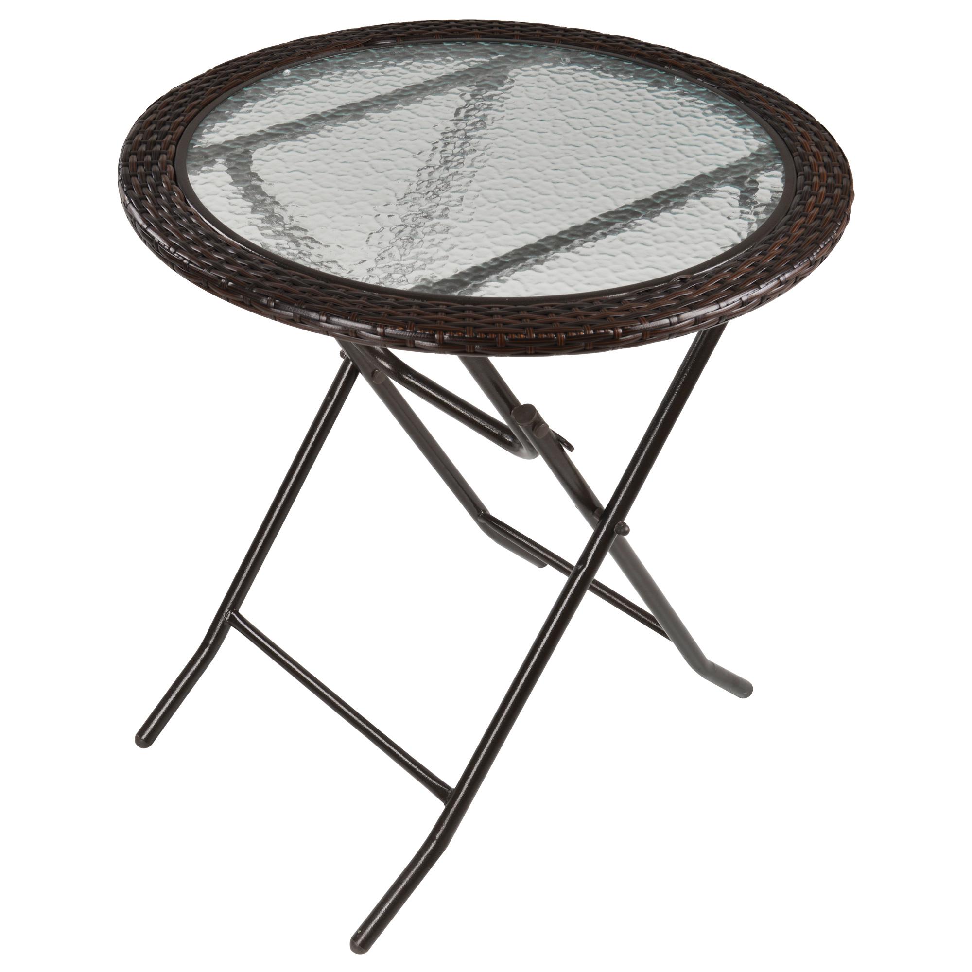 Table ronde bistro de jardin pliable plateau verre trempé