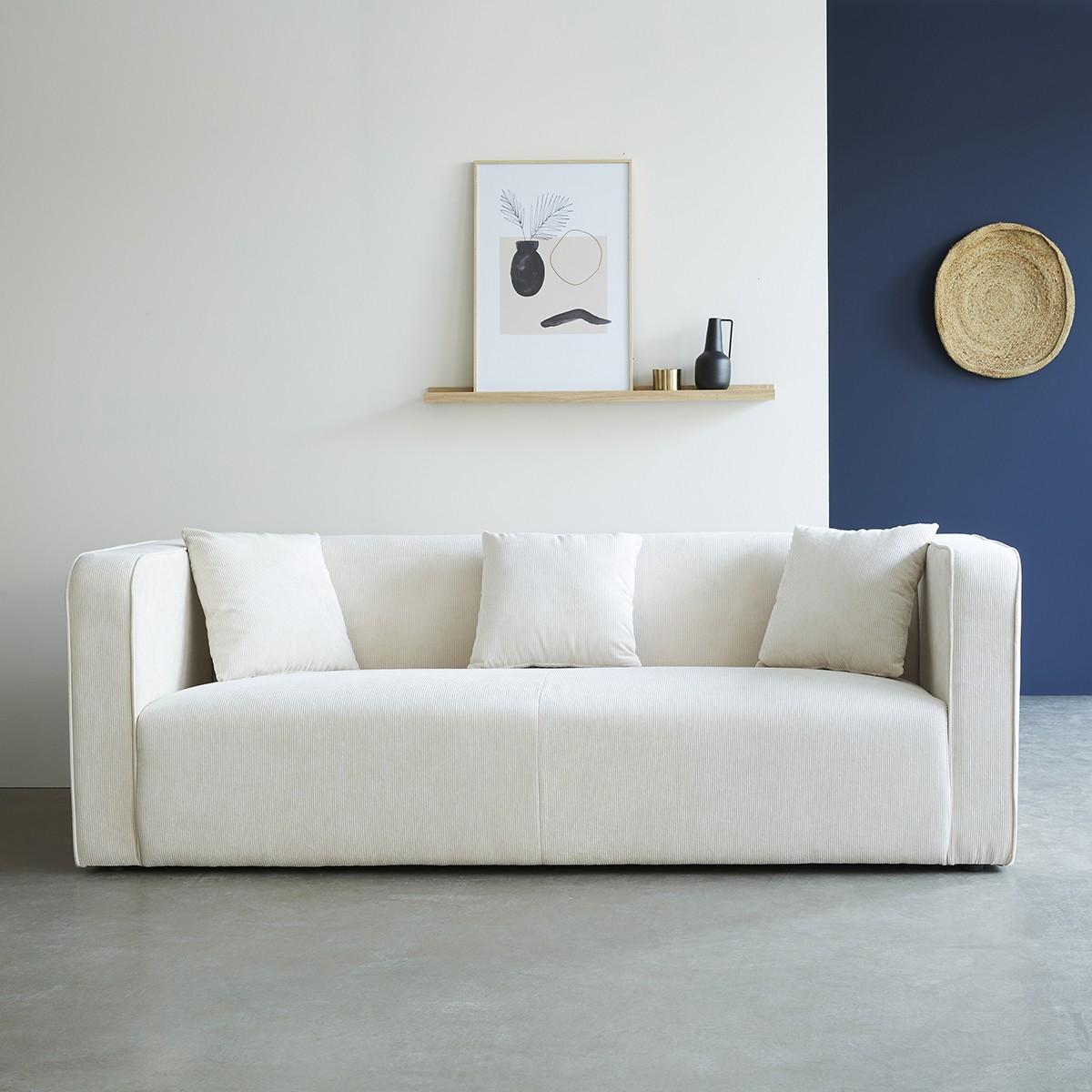 Canapé 3 places velours côtelé blanc
