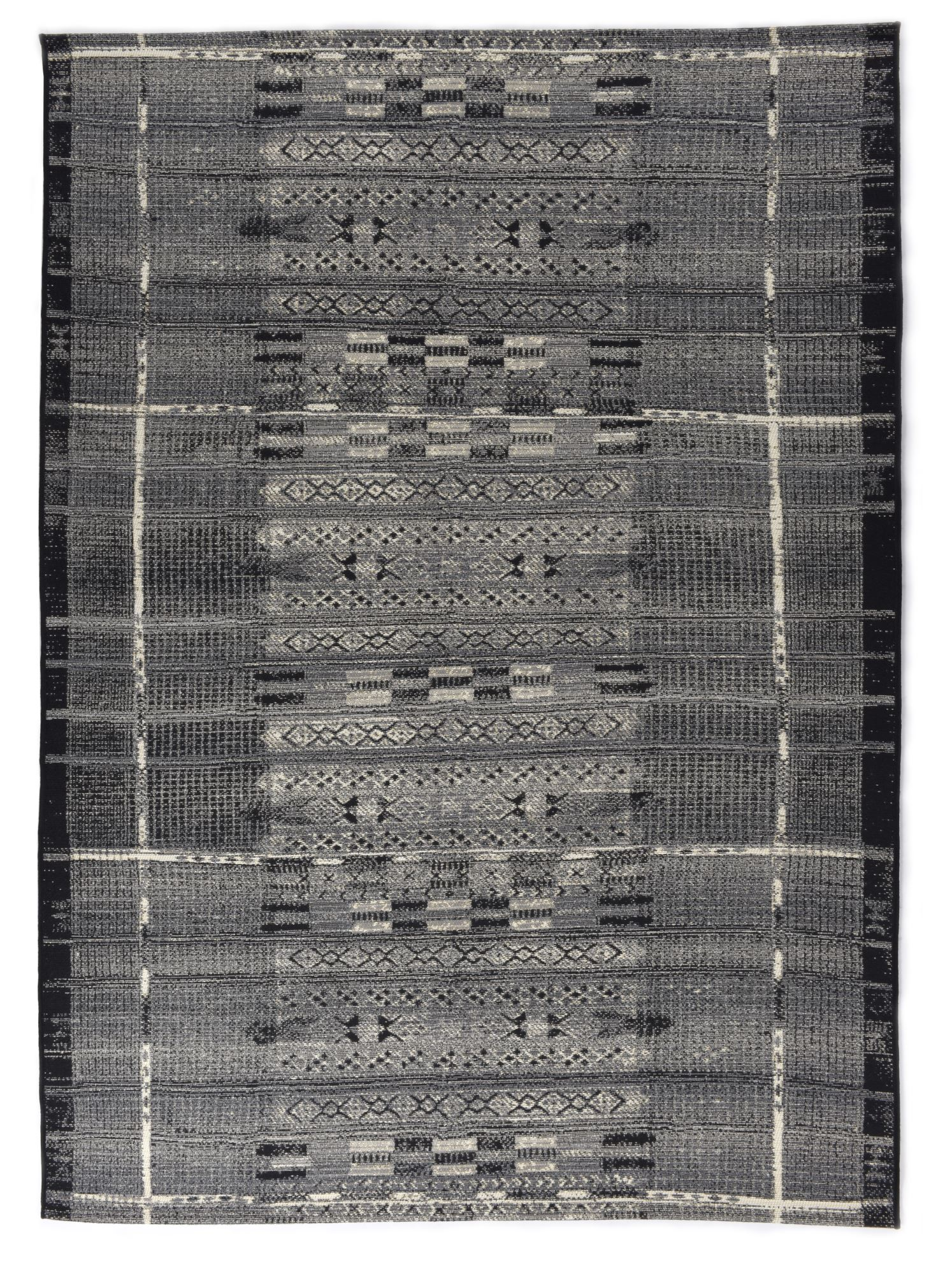 Tapis d'extérieur et intérieur durable gris multicolore 80x165 cm