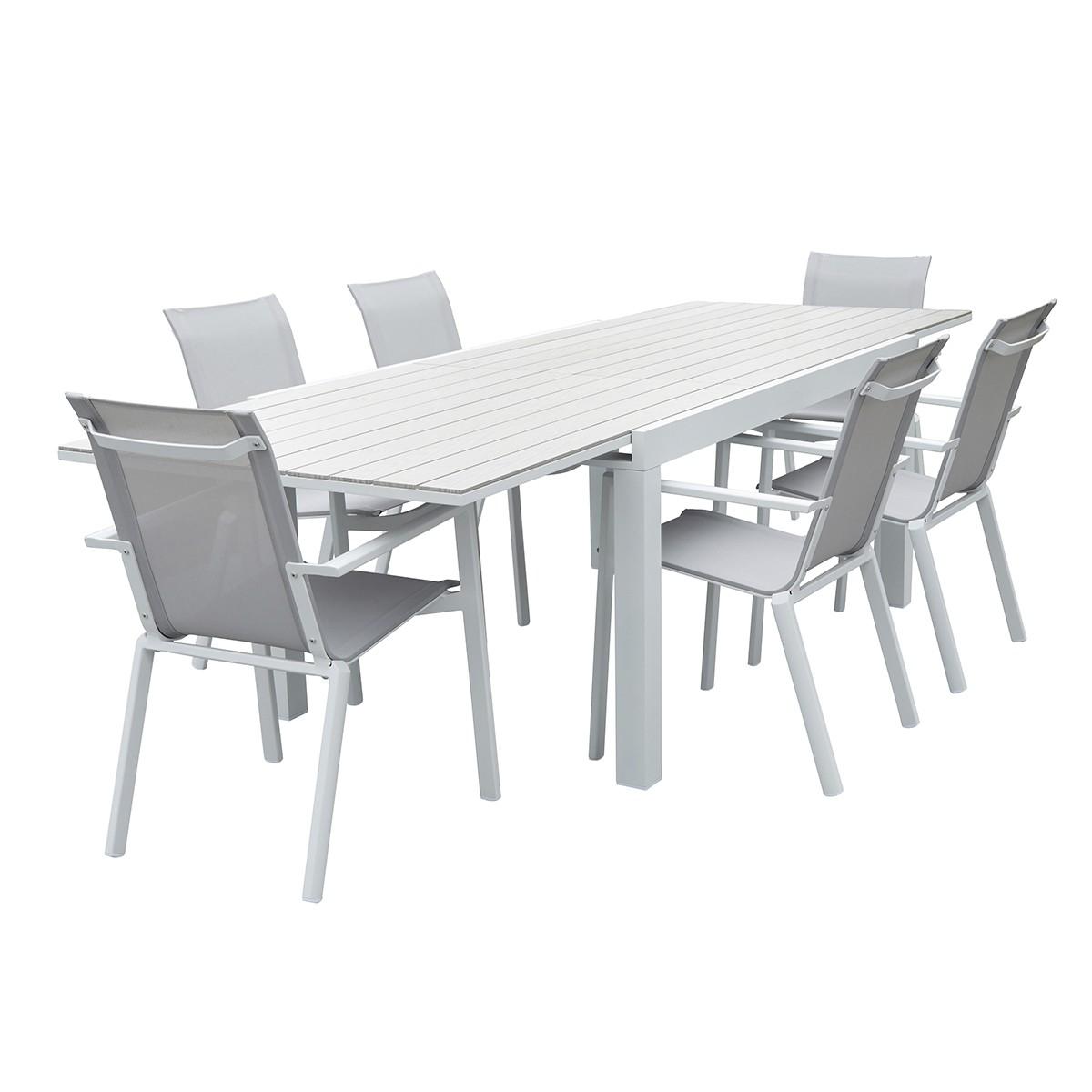 Salon de jardin aluminium blanc et textilène gris 6/10 places