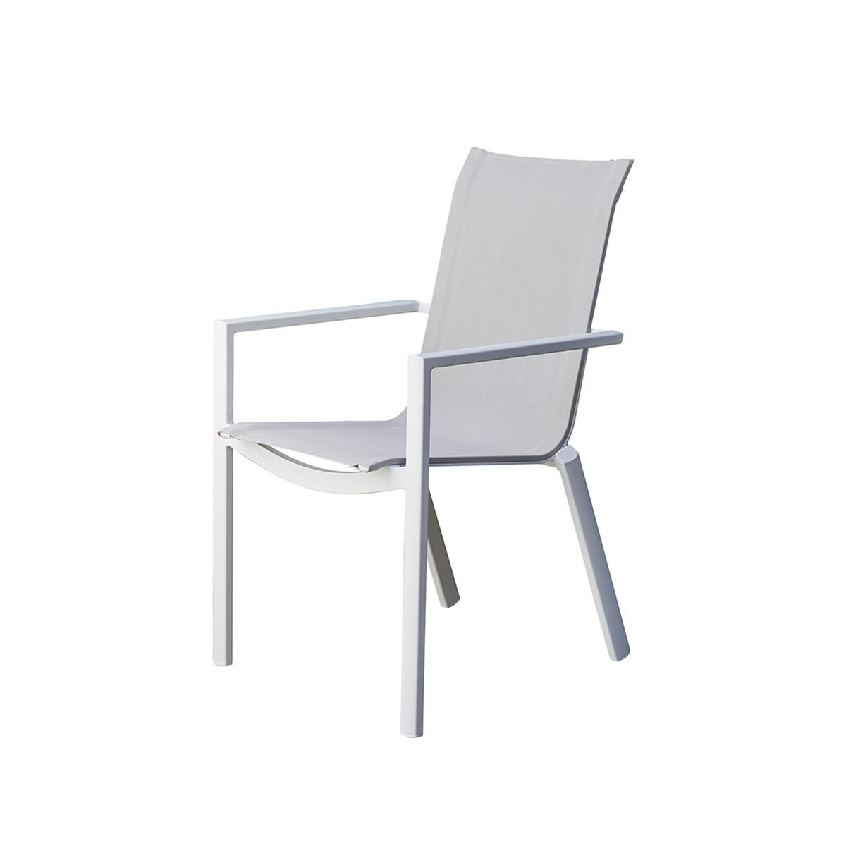 Fauteuil de jardin en aluminium blanc et textilène gris