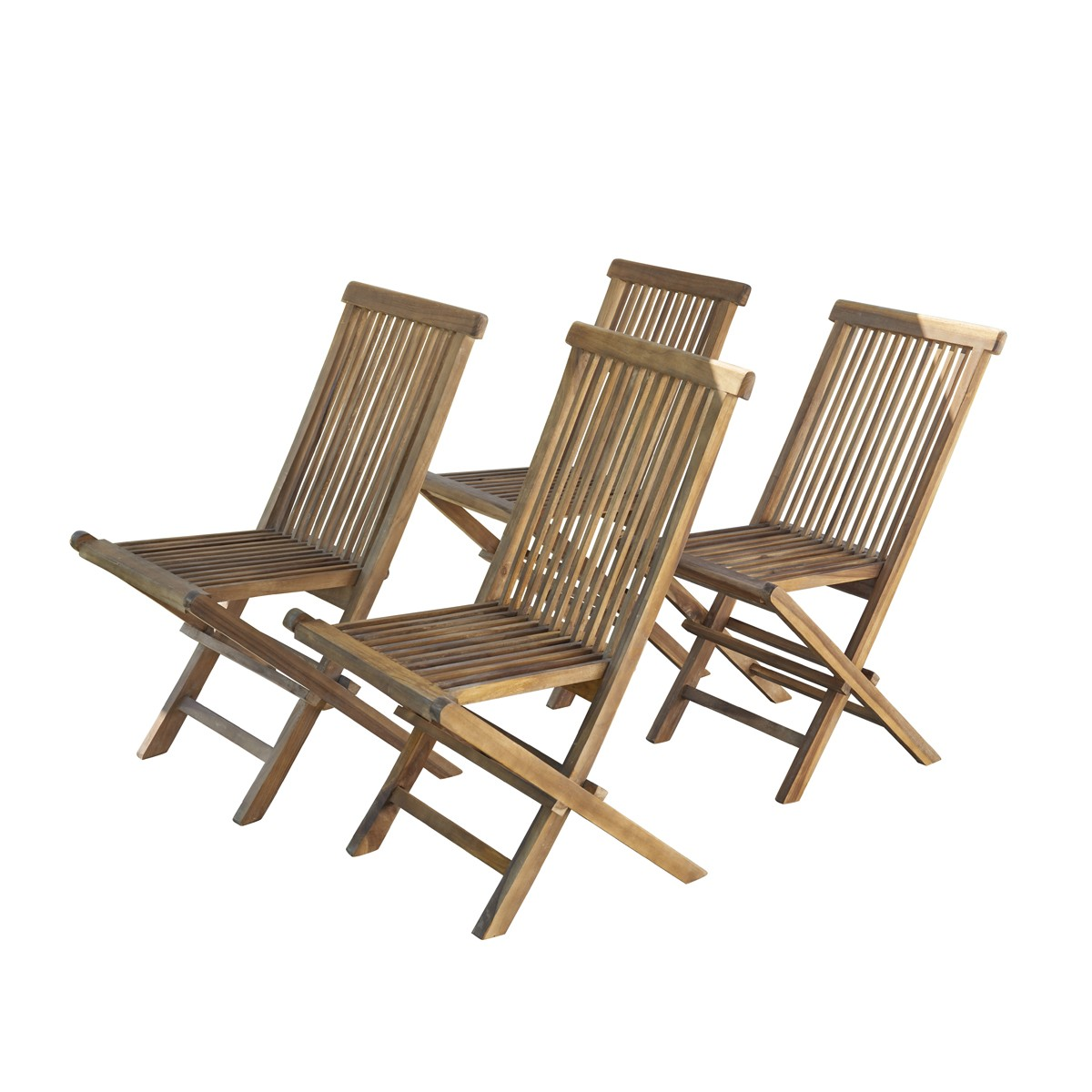 Chaise de jardin en teck huilé pliante (lot de 4)