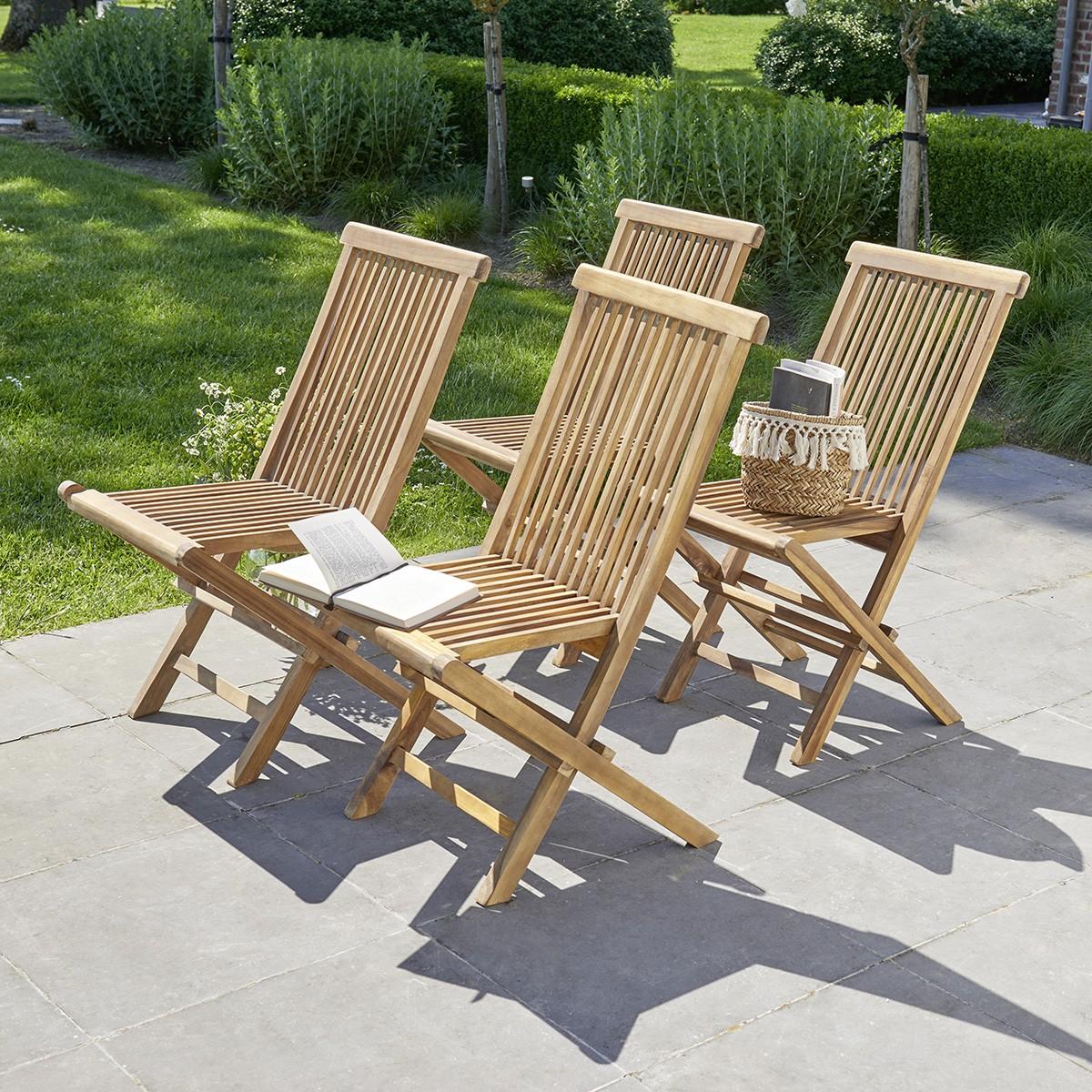 4 chaises de jardin en teck huilé pliantes