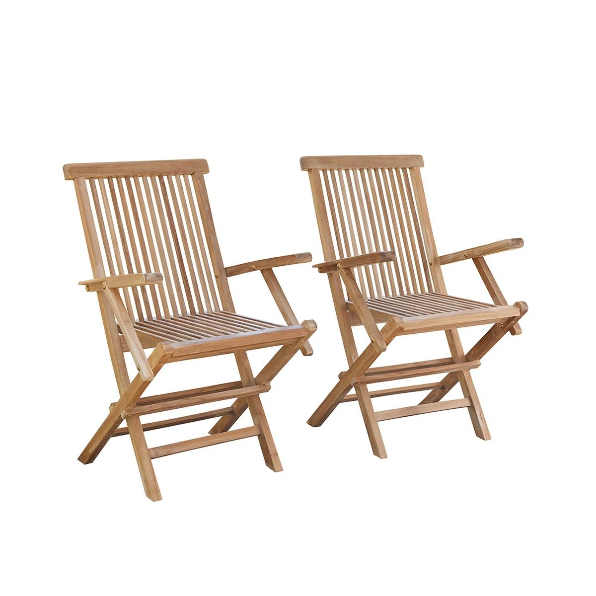 2 fauteuils de jardin en teck pliants