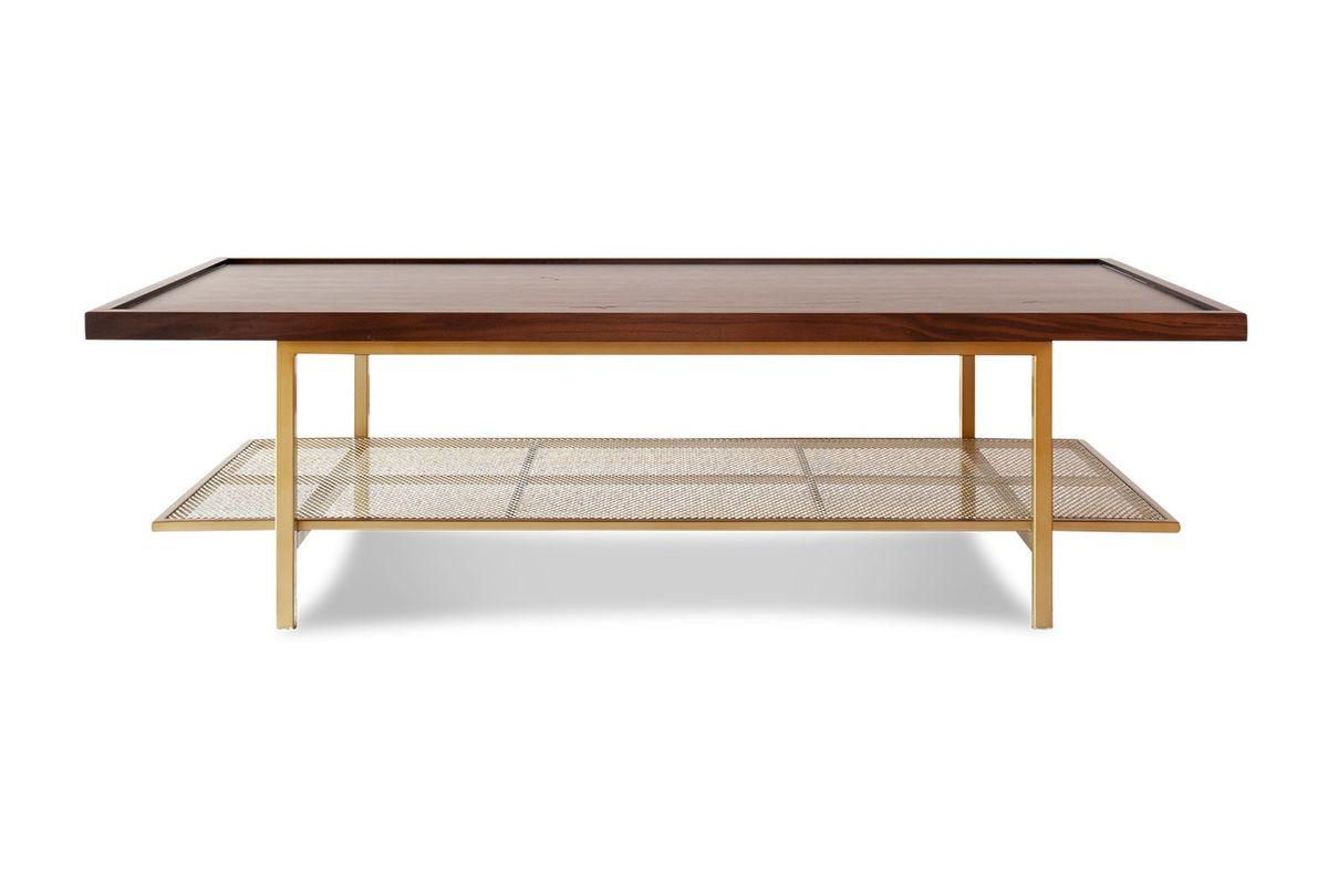 maison du monde Table basse en métal doré et noyer marron