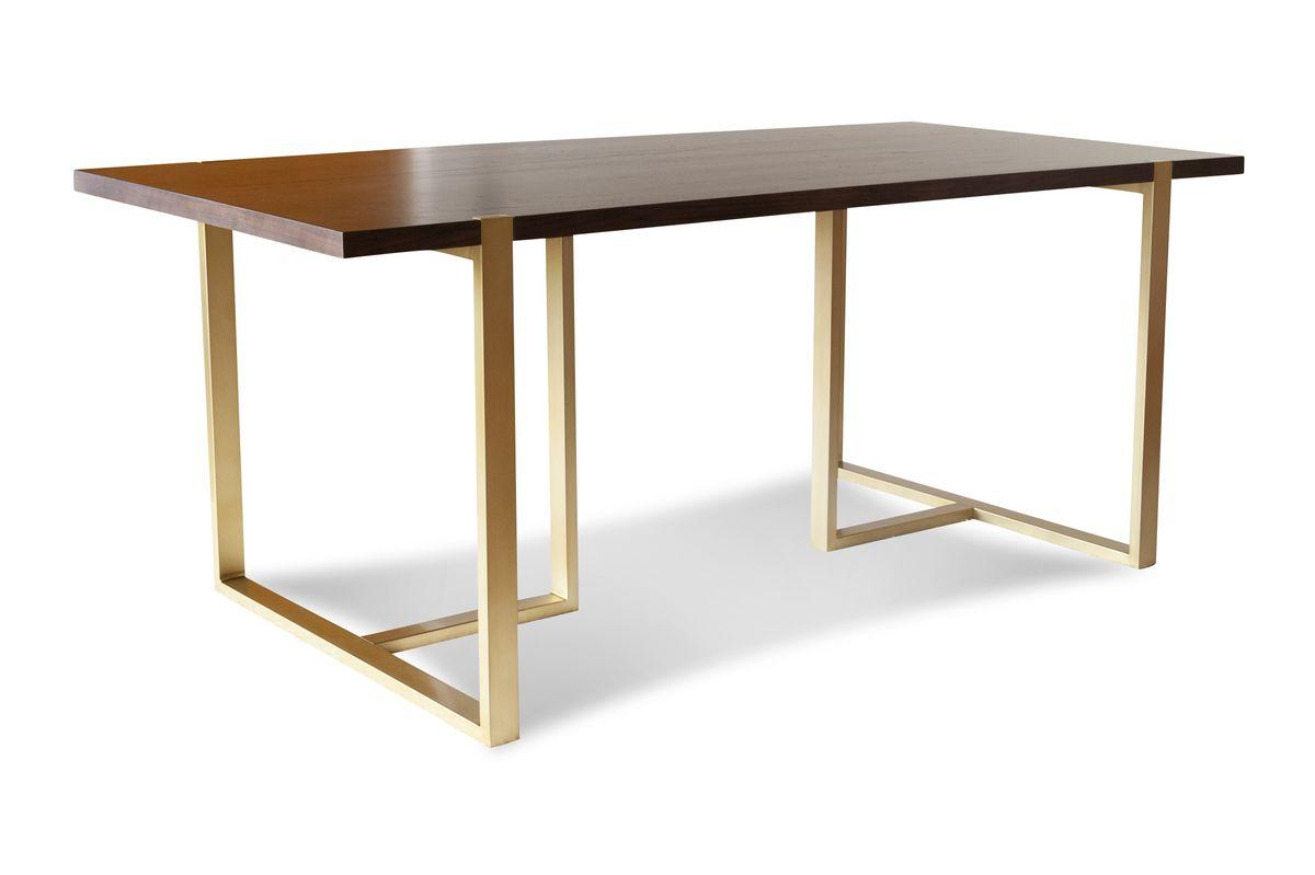 Table de repas en métal doré et bois marron