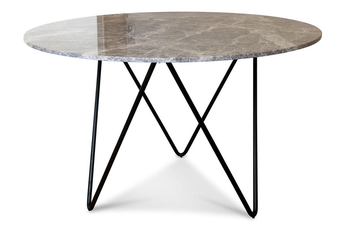 maison du monde Table ronde en métal noir et marbre gris