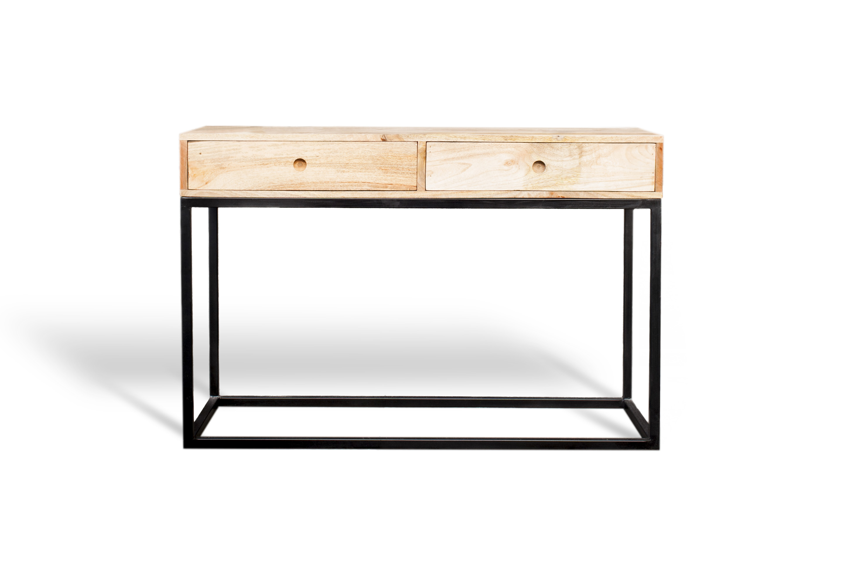 Console à 2 tiroirs en bois beige
