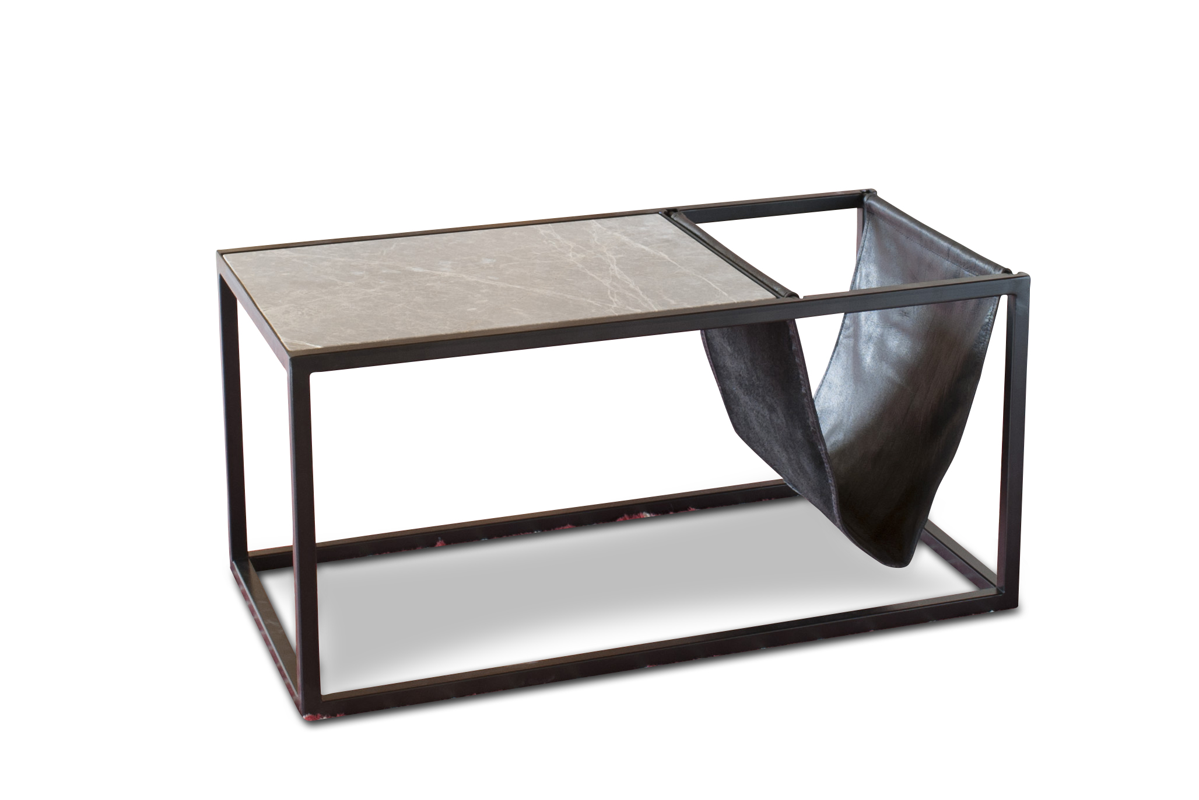 Table basse porte-revue en pierre et m?tal noir
