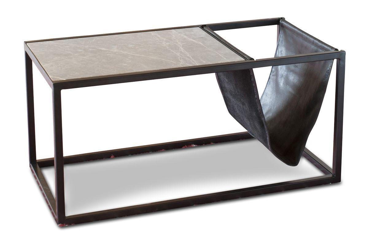 Table basse porte-revue en pierre et métal noir