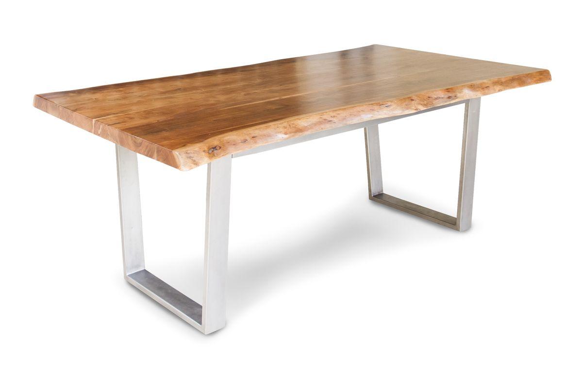 Grande table de repas en métal argenté et bois marron
