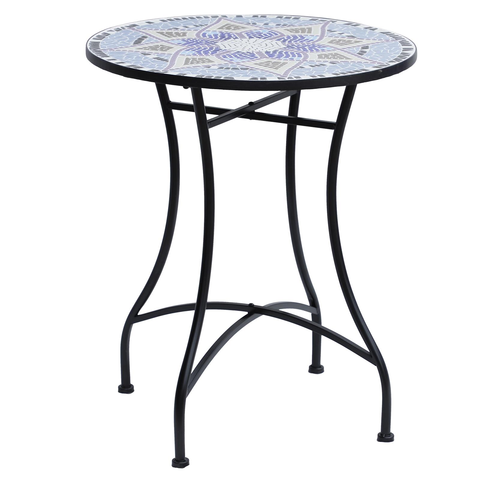 Table ronde pliable en fer forgé plateau mosaïque