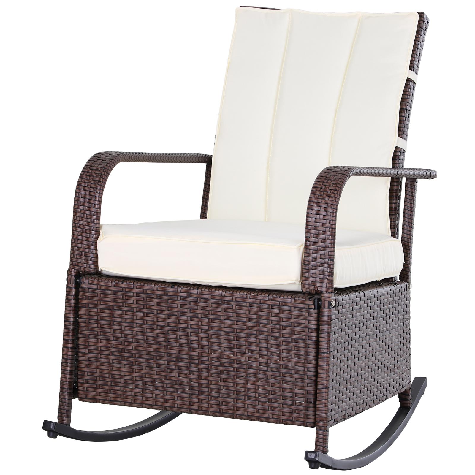 Rocking chair extérieur cosy coussins inclus résine tressée chocolat