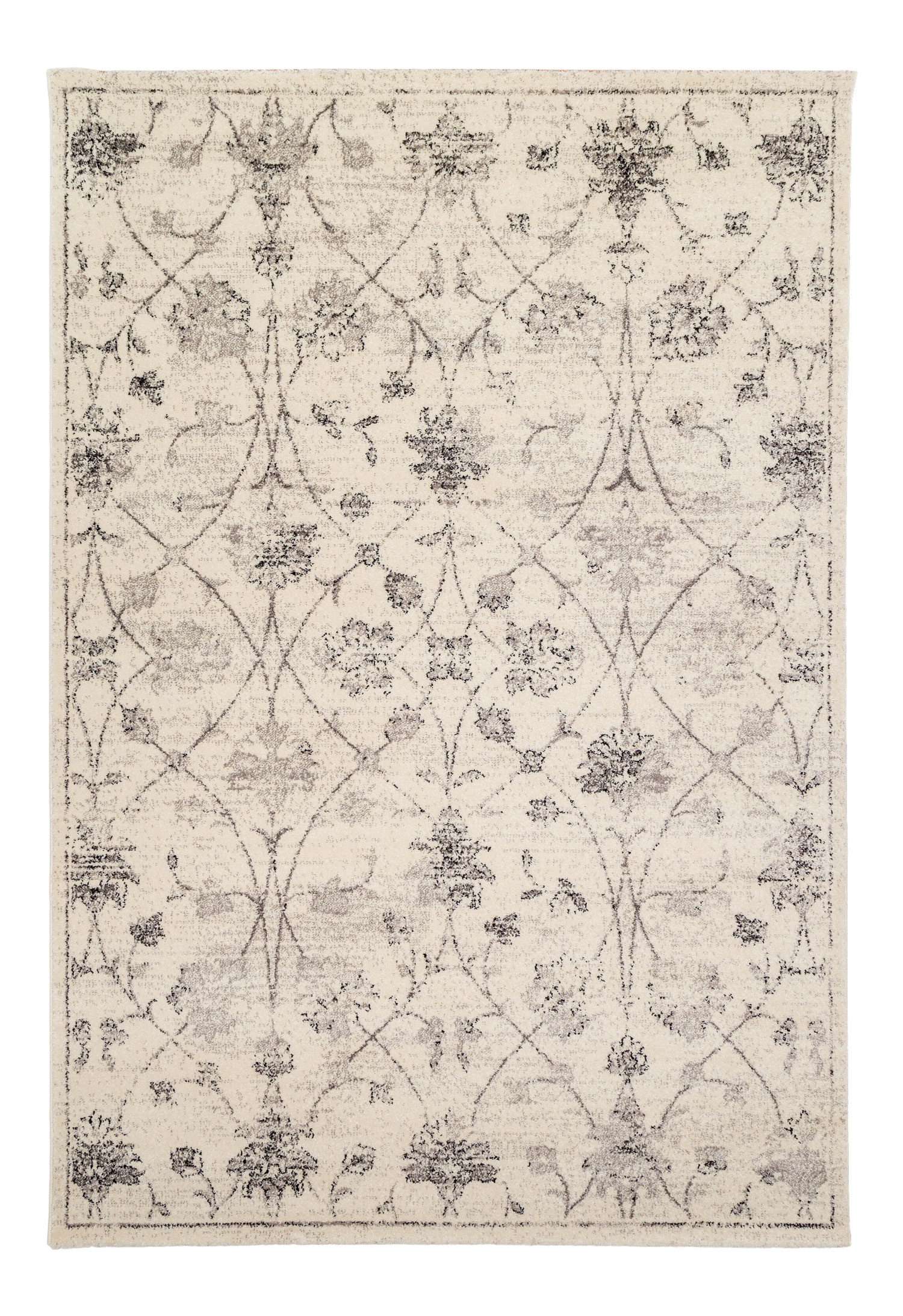 Tapis vintage floral argent 160x230