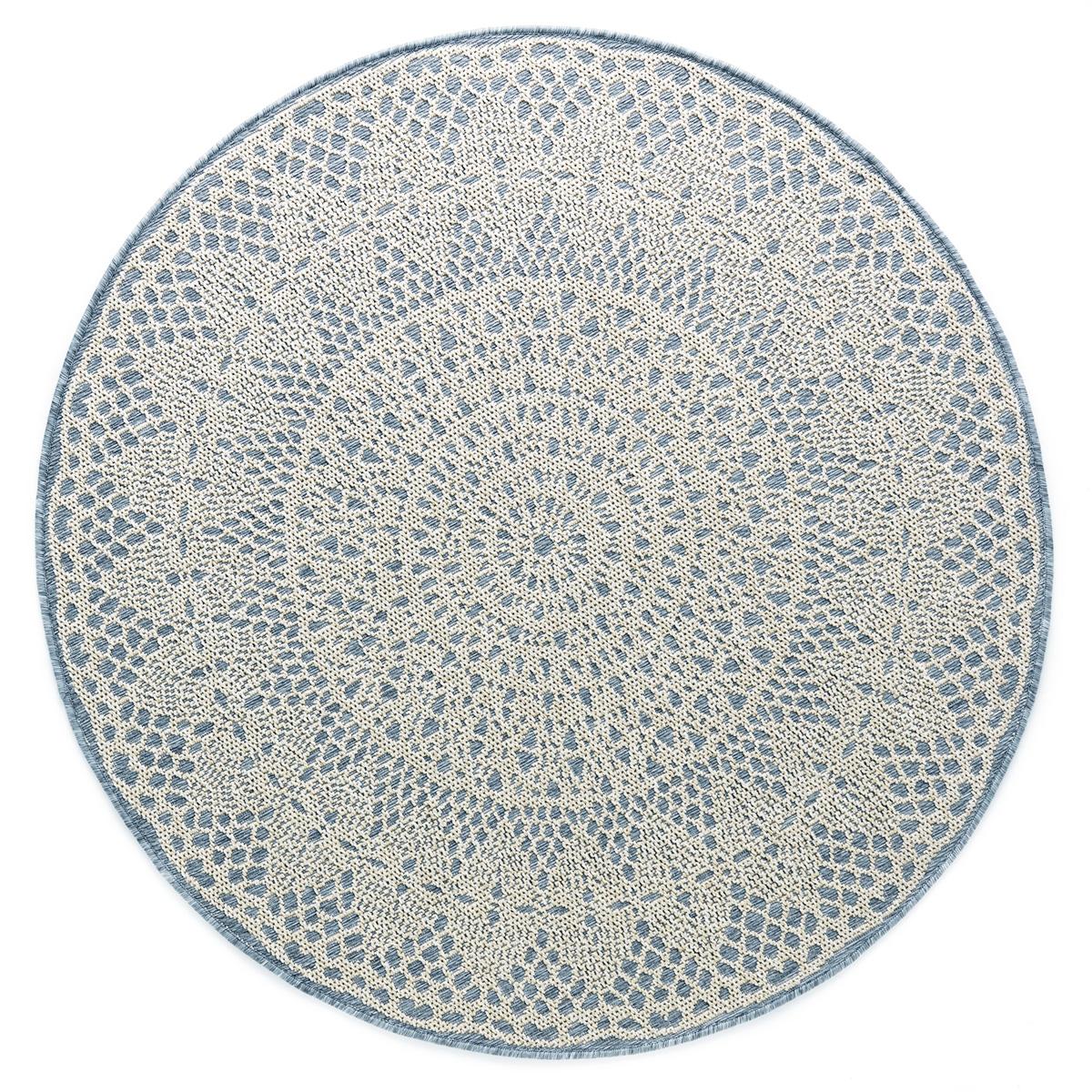 Tapis rond crochet gris 135x135