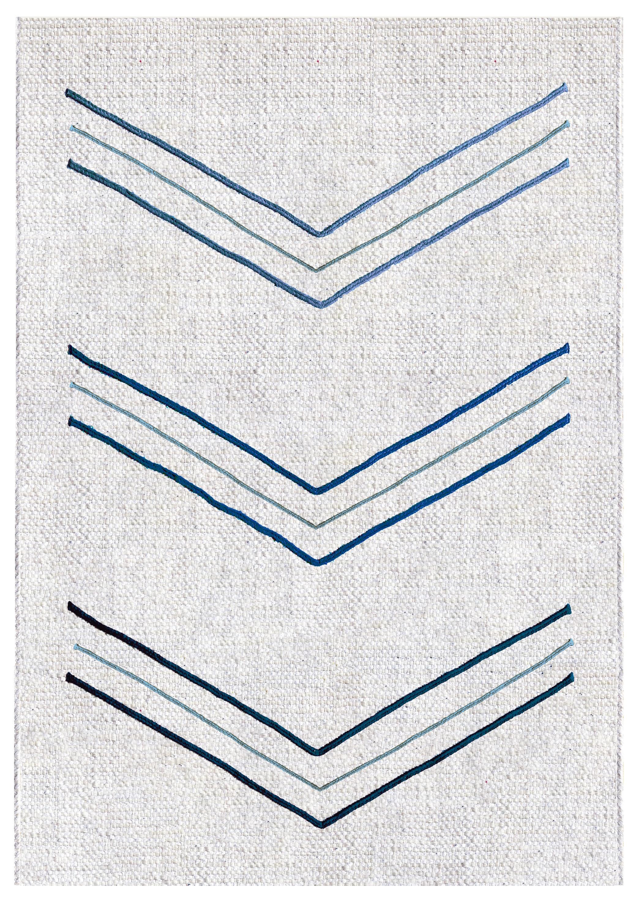 Tapis chevron ii en coton jute et liège bleu 140x200