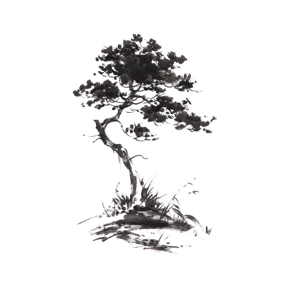 Autocollant mural arbre aquarelle 50x70