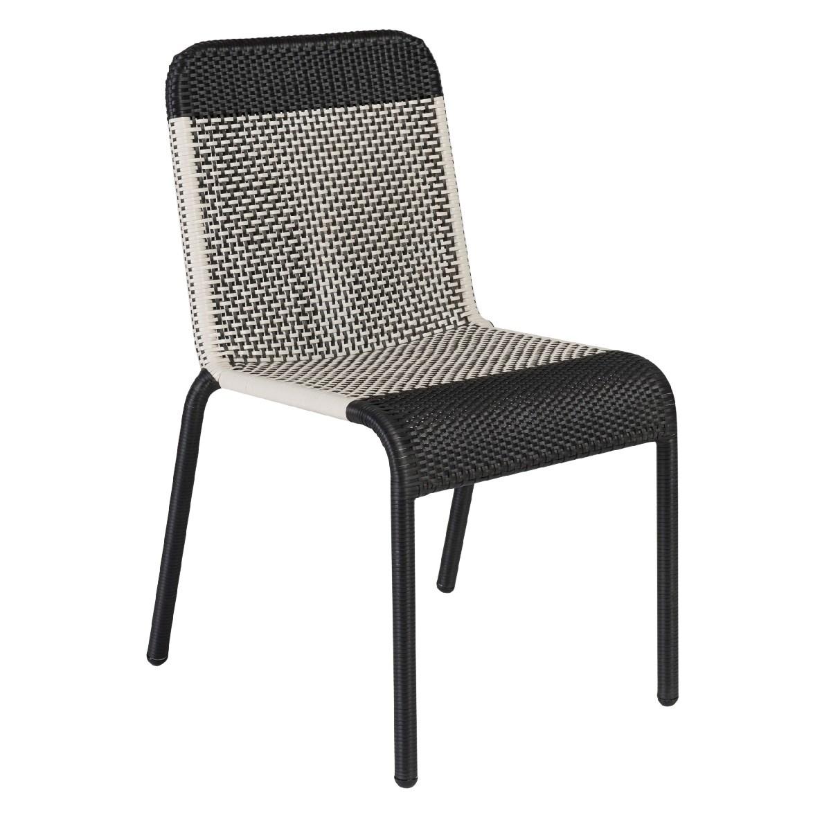 Chaise de jardin tressée en résine marron foncé
