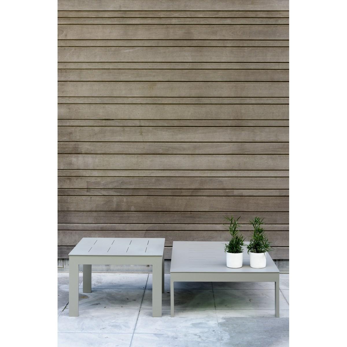 Table basse de jardin rectangulaire en aluminium gris souris
