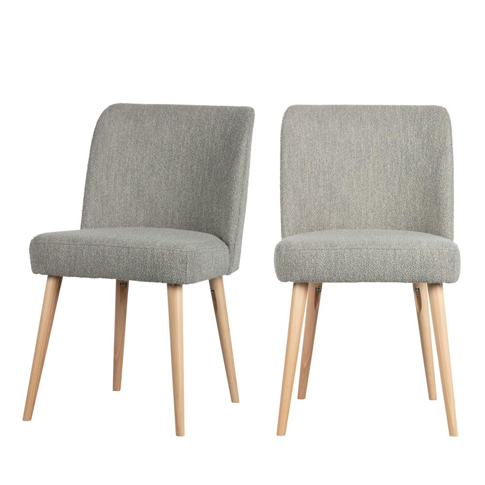 maison du monde 2 chaises en tissu bouclé gris clair