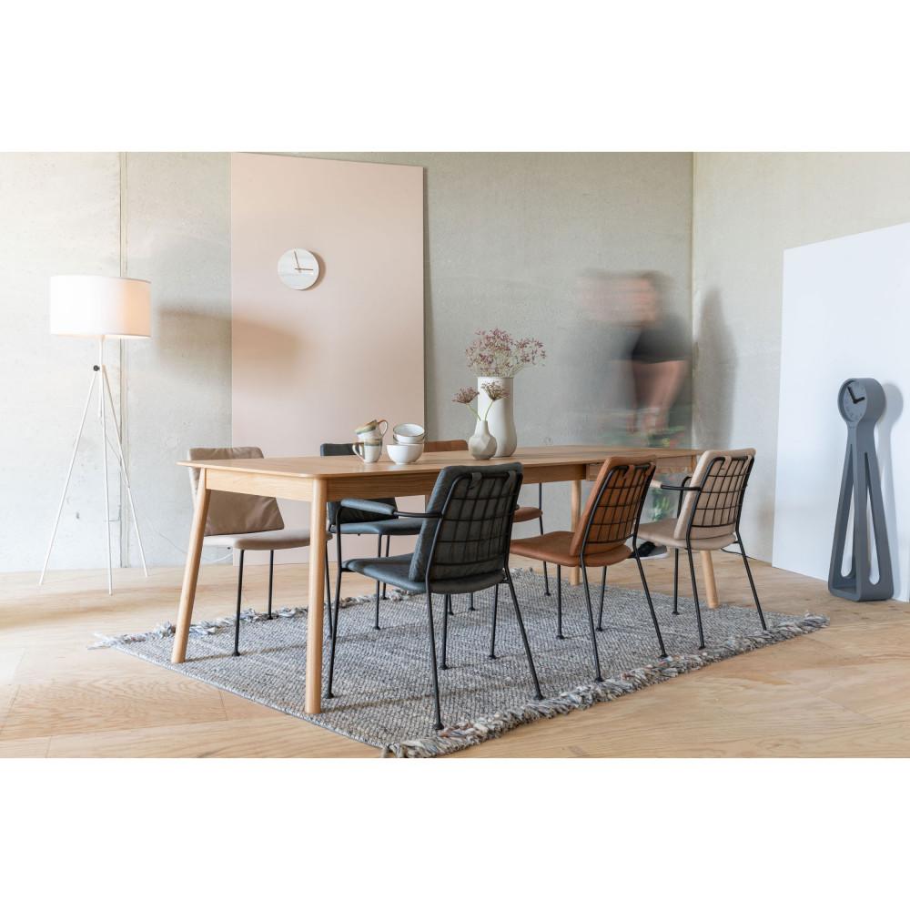 2 fauteuils de table en tissu micro-perforé marron foncé