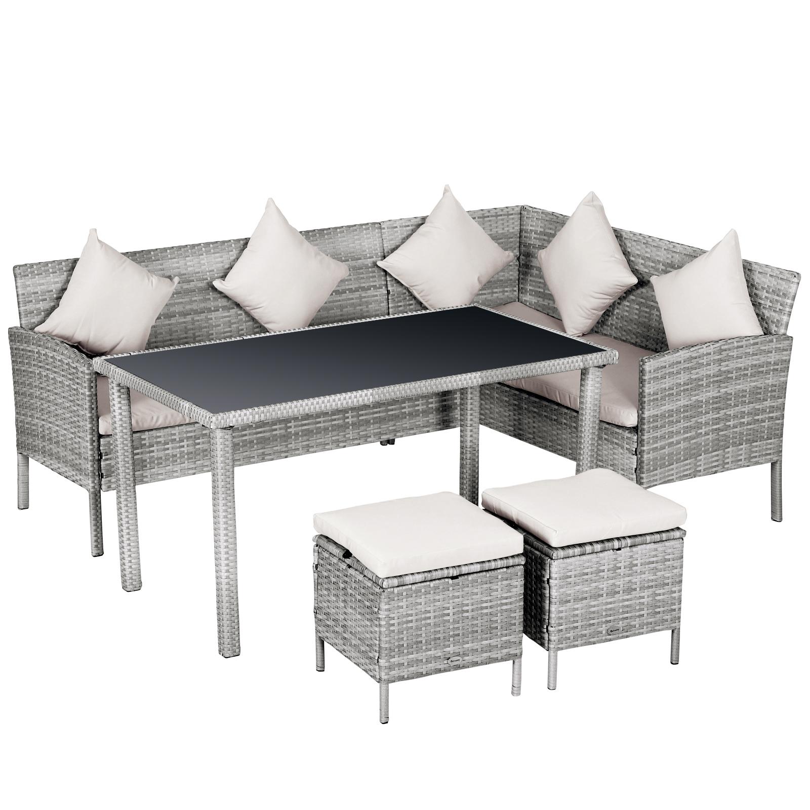 Salon de jardin d'angle 6 places avec poufs er table à manger gris