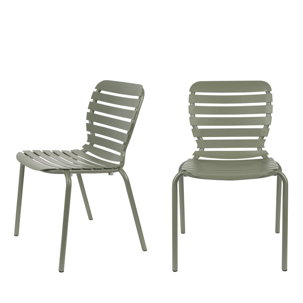 2 chaises de jardin en métal vert de gris