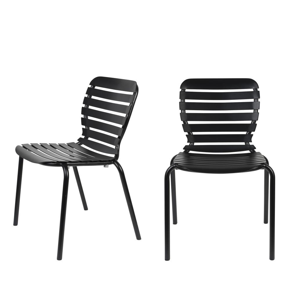 2 chaises de jardin en métal noir