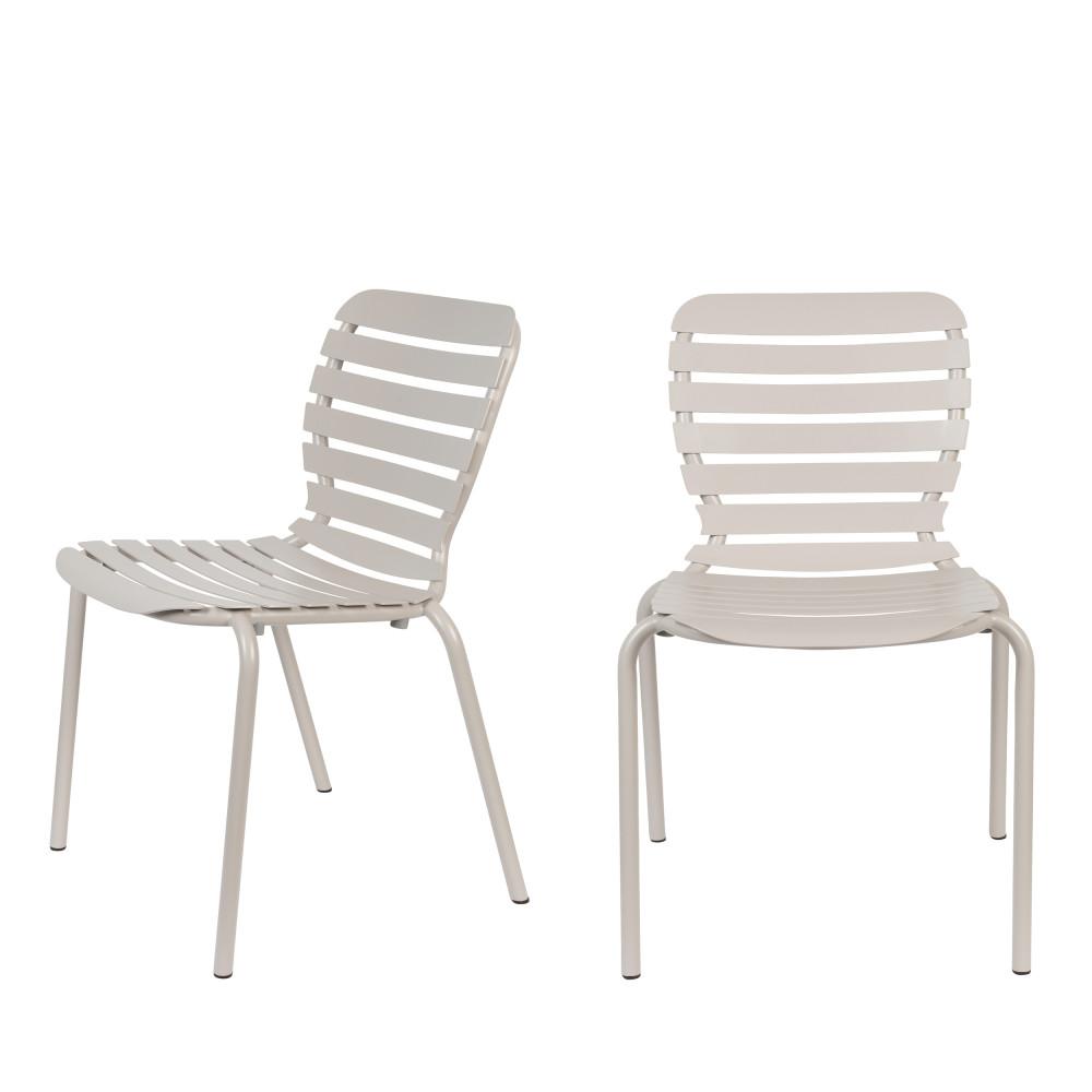 2 chaises de jardin en métal beige