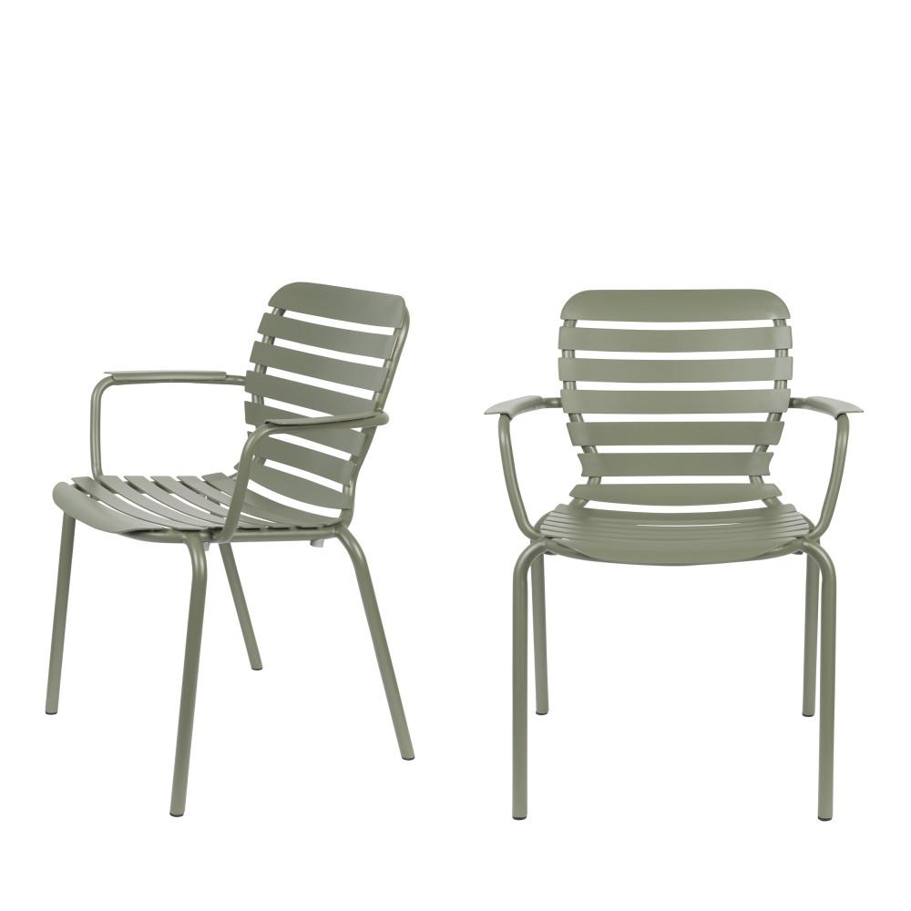 2 fauteuils de jardin en métal vert de gris