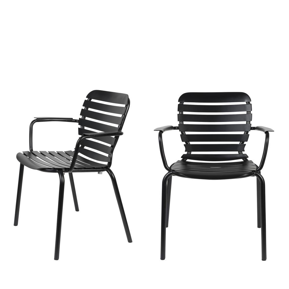 2 fauteuils de jardin en métal noir