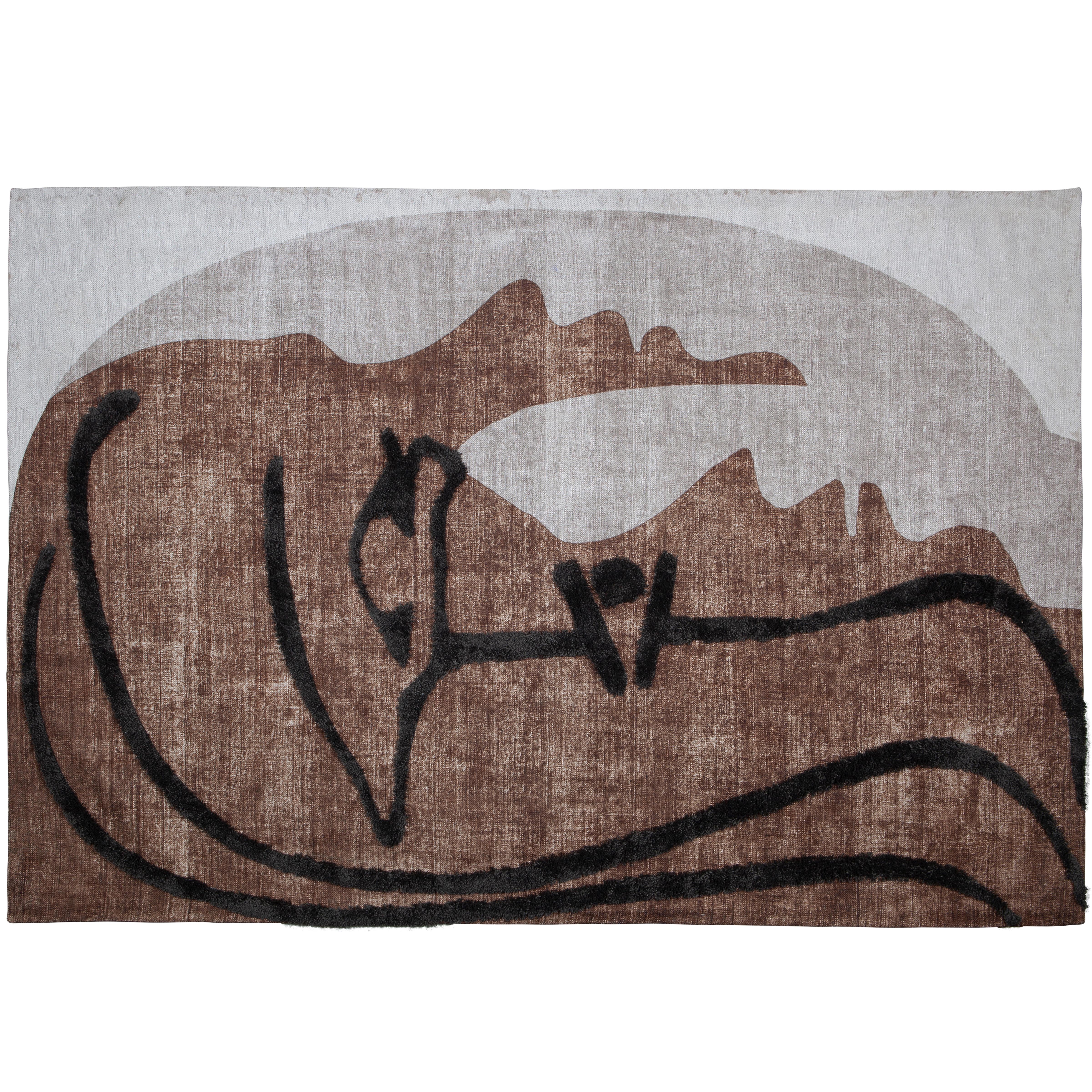 Tapis motif abstrait marron 170x240 cm