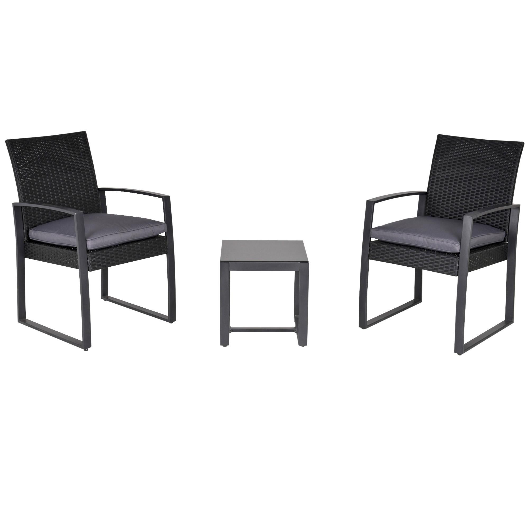 Salon de jardin 2 places avec table basse avec coussins gris noir