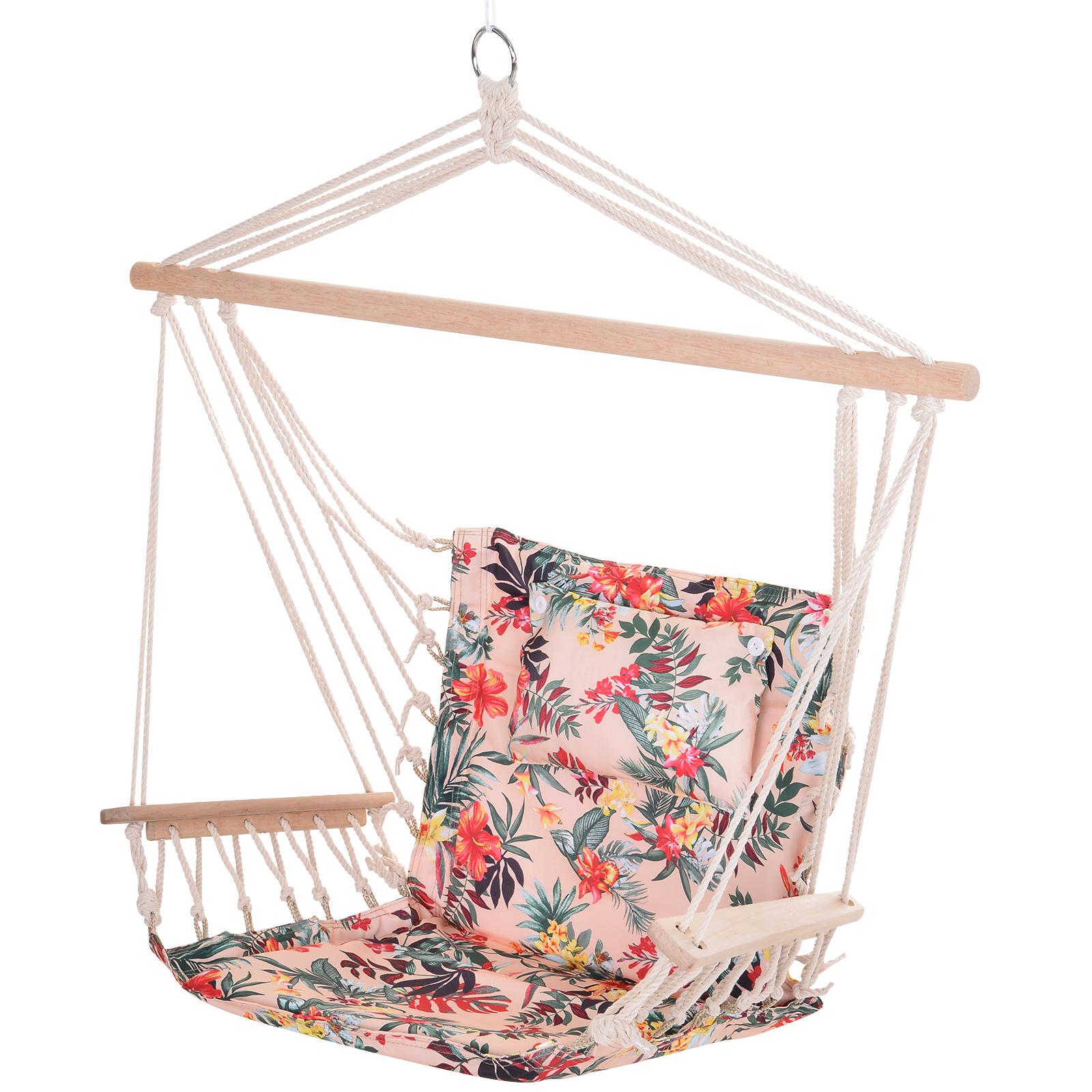 Chaise suspendue hamac rose fleuri