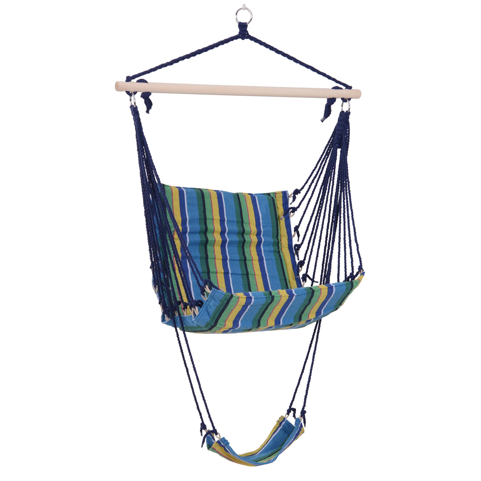 Chaise suspendue hamac avec repose pieds bleu