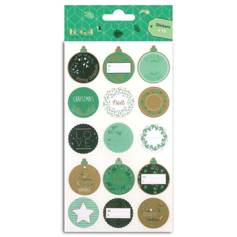 15 stickers pour emballage cadeau or et vert