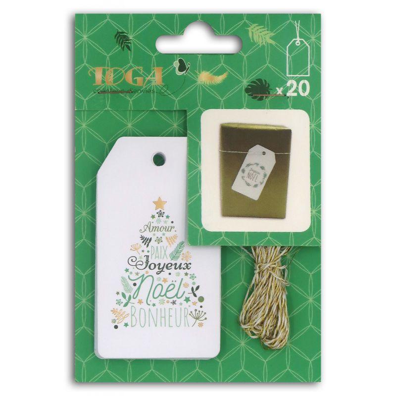 20 étiquettes de Noël avec ficelle doré