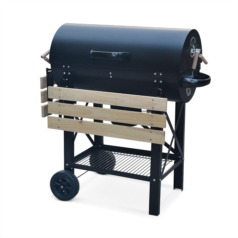 Barbecue charbon de bois serge noir fumoir smoker américain