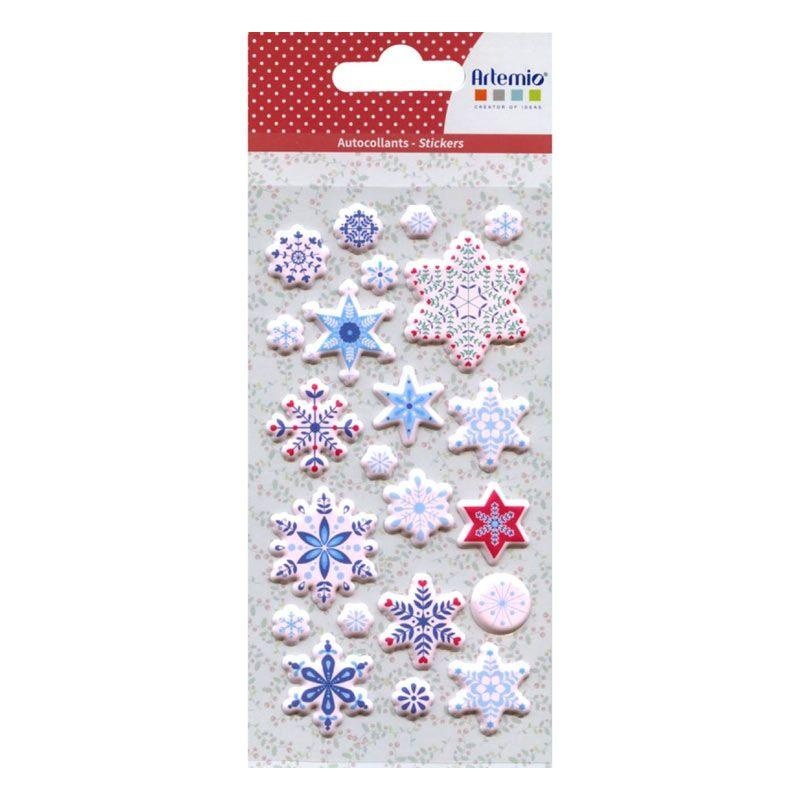22 stickers puffies flocons