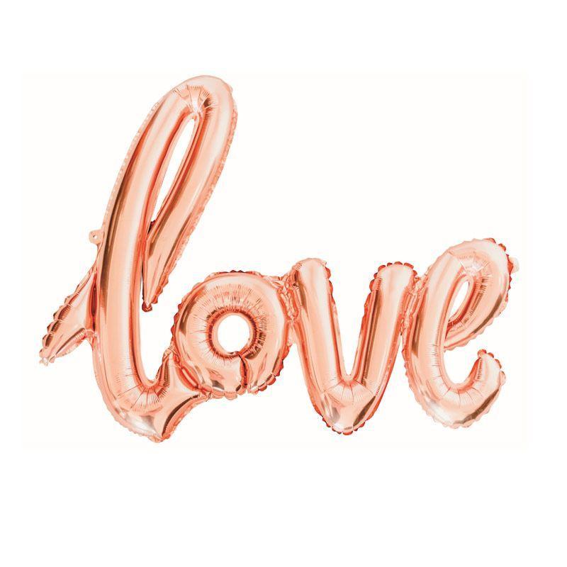 Ballon love rose doré