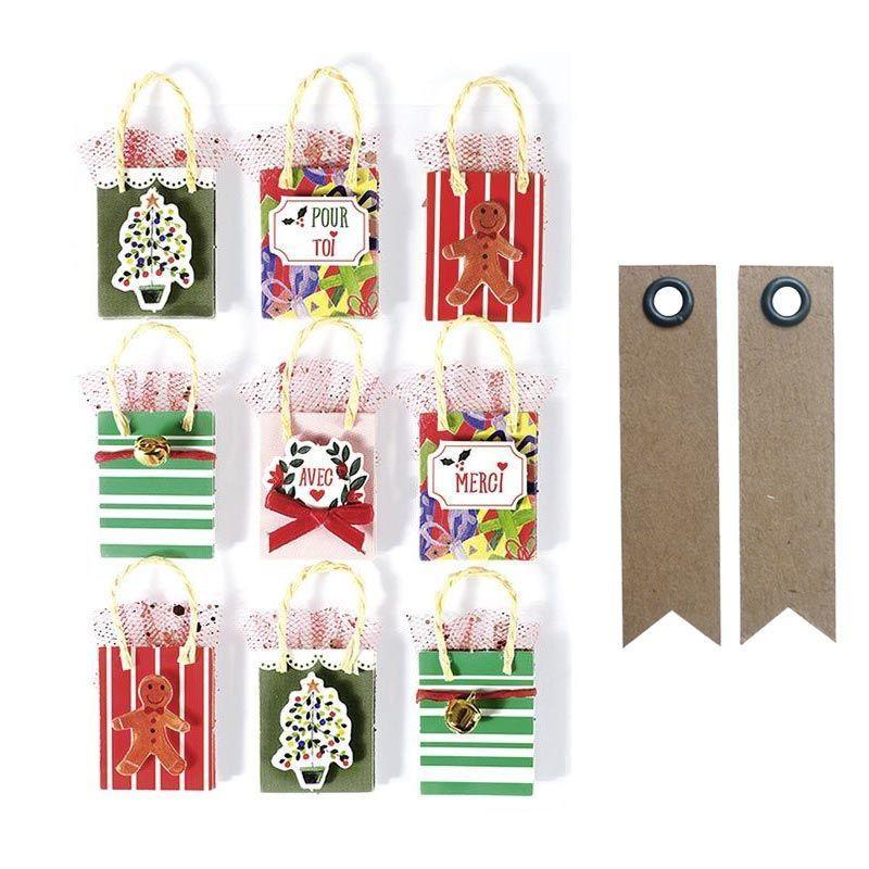 9 stickers 3D sac cadeau de Noël 5cm + 20 étiquettes kraft