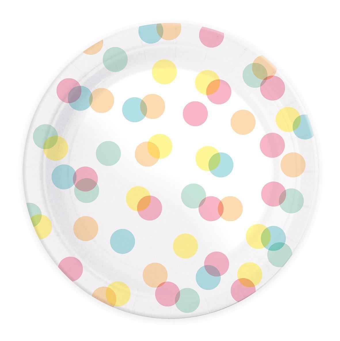 8 assiettes carton confettis D23 cm