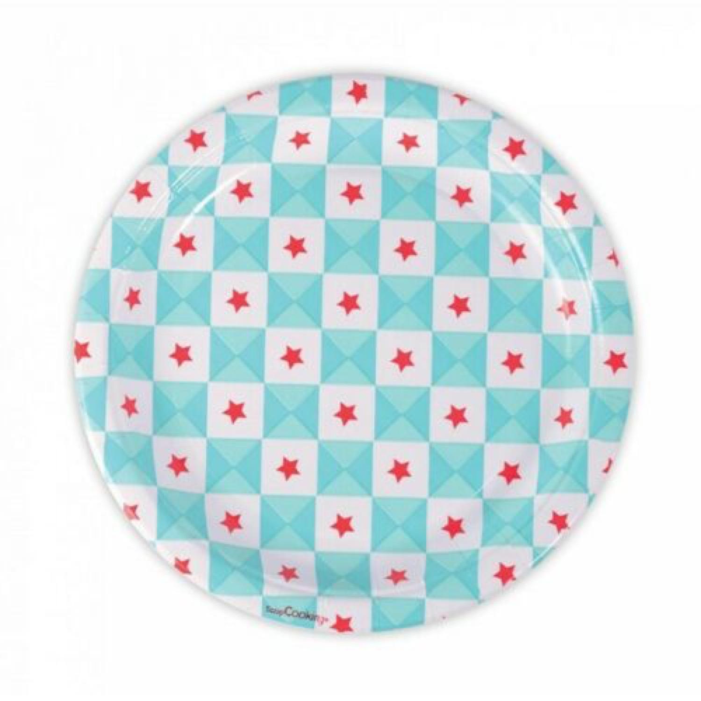 8 assiettes carton géométrie étoiles bleues D23 cm
