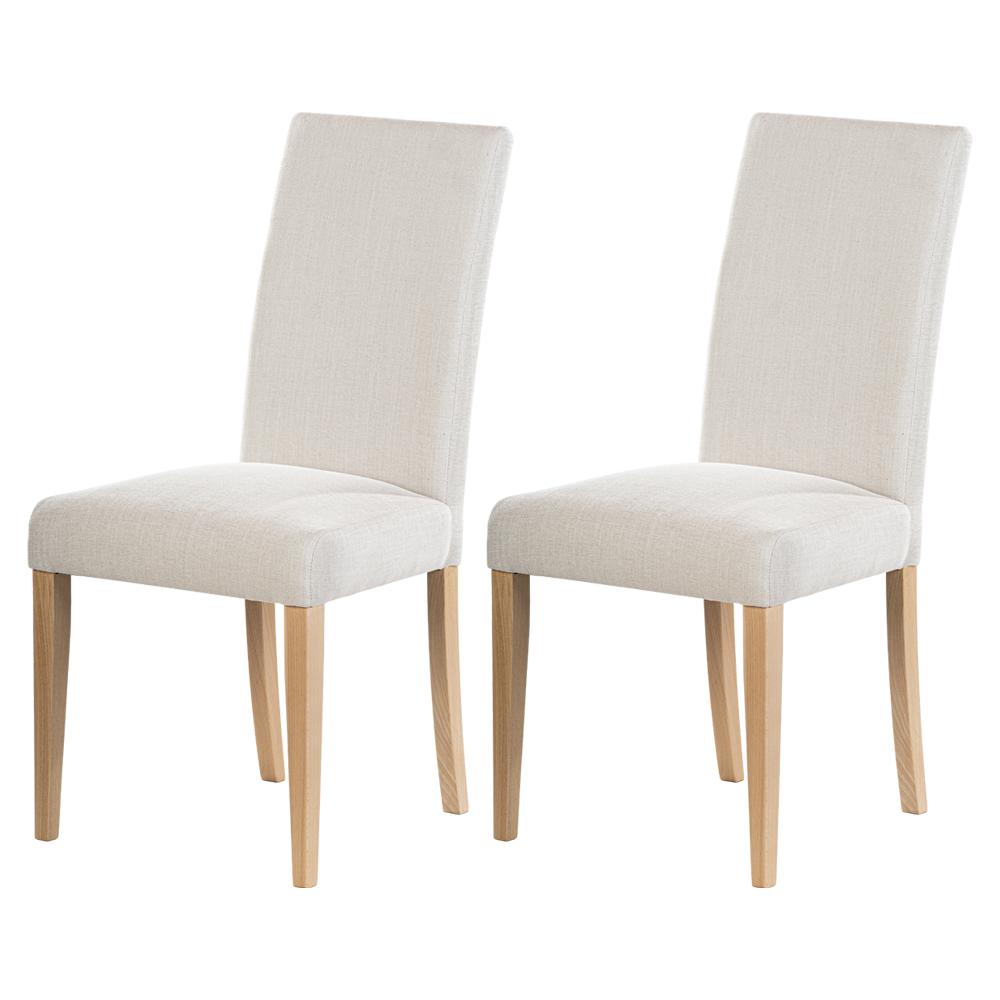maison du monde Lot de 2 chaises salle à manger beige pieds en bois de hêtre