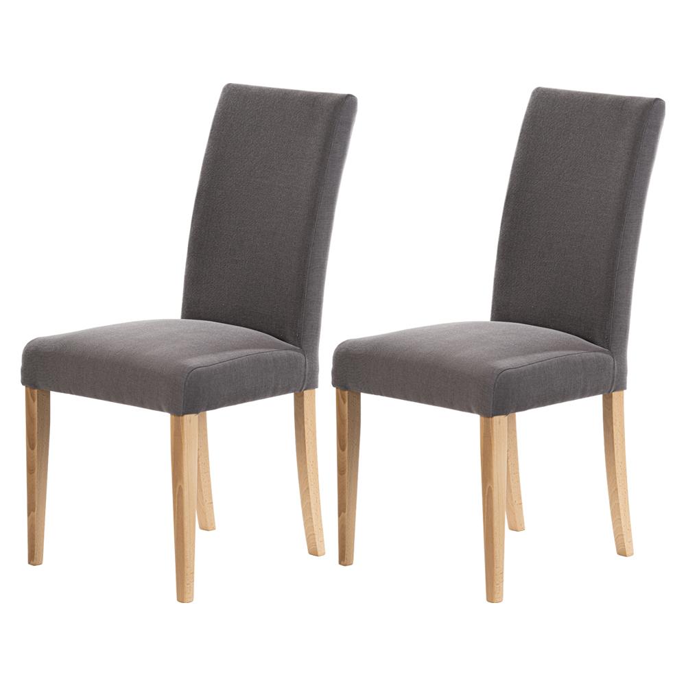 maison du monde Lot de 2 chaises salle à manger gris foncé pieds en bois de hêtre