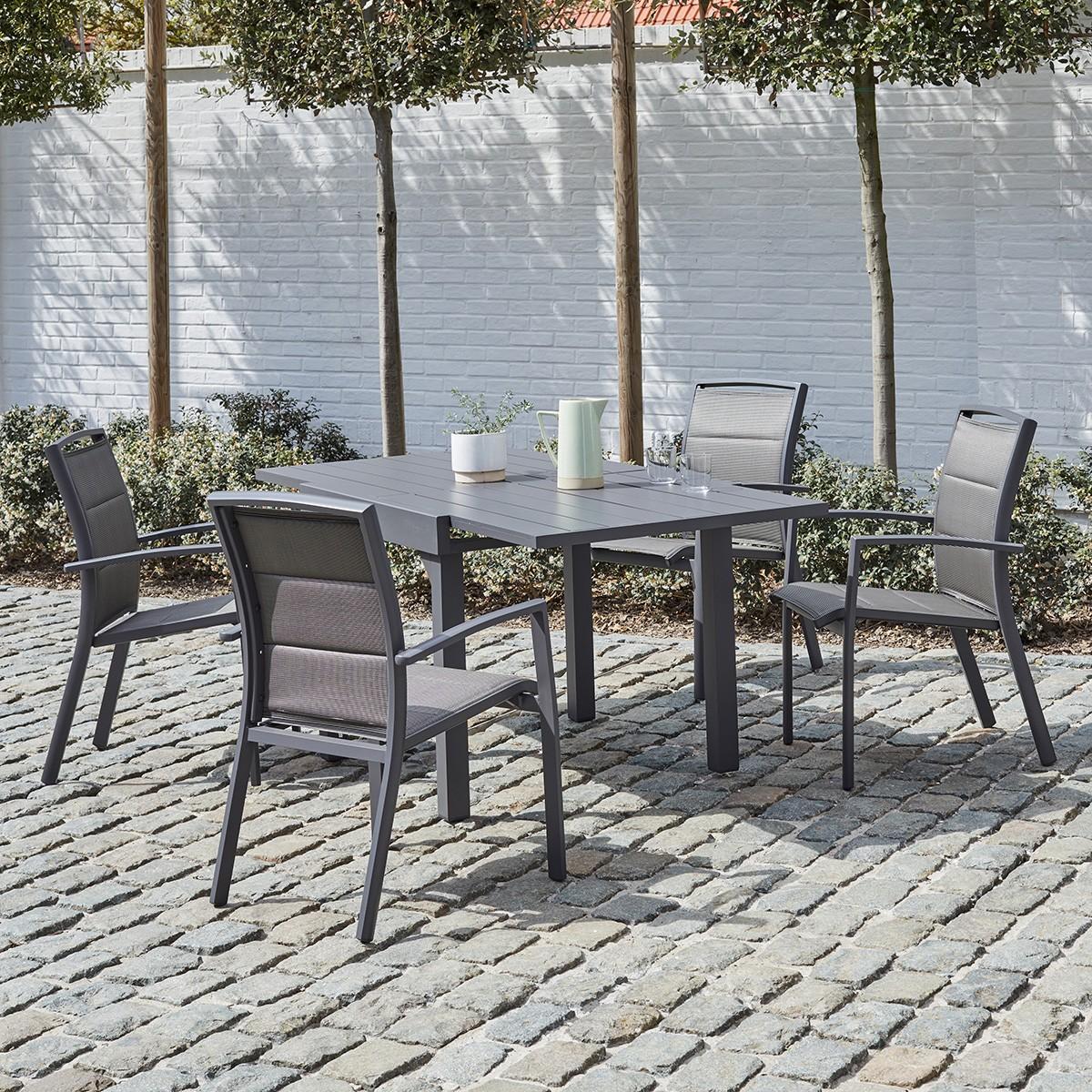 Salon de jardin extensible en aluminium 4/8 places