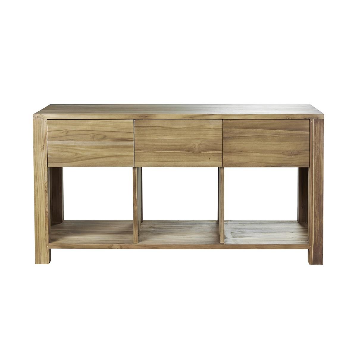 Meuble double vasque 3 tiroirs et 3 niches en teck