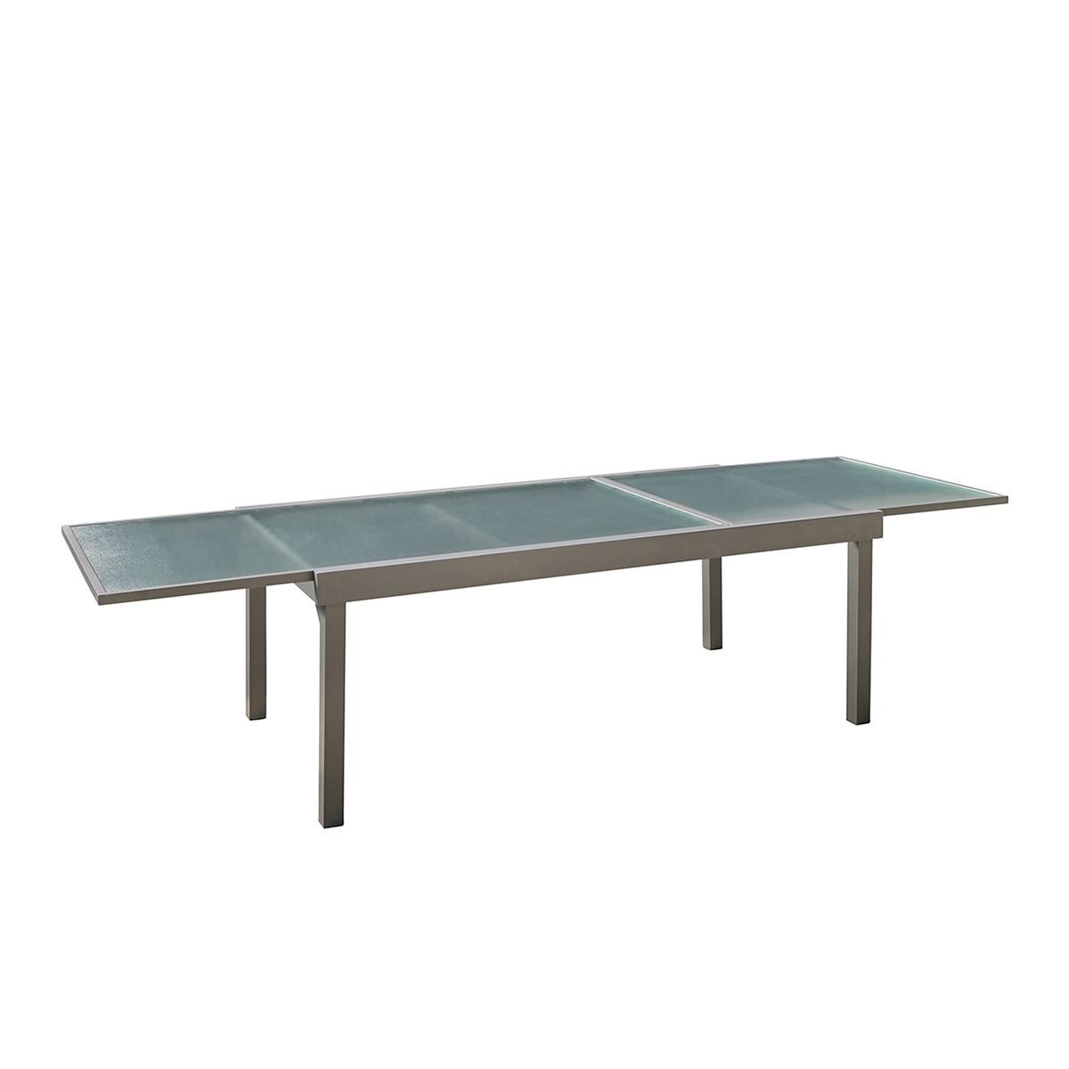 Table de jardin extensible en aluminium gris 8/12 places